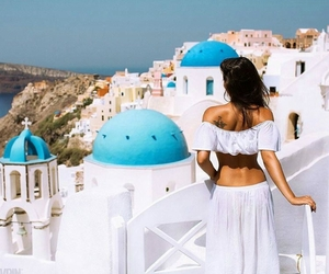 blue, travel, and santorini image