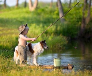 dog, fishing, and kids image