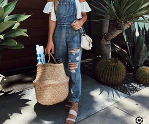 fashion, girl, and overalls image
