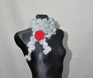 etsy, skinnyscarf, and grey crochet scarf image