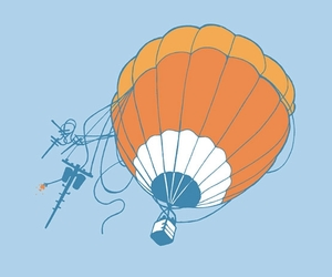 high voltage, hot air balloon, and illustration image