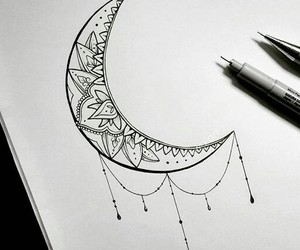 moon, art, and draw image