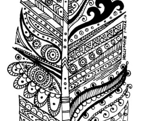 drawing, feather, and zentangle image