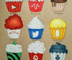 cupcake, drawing, and social image