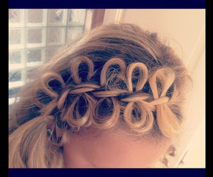 blond, bow, and braid image