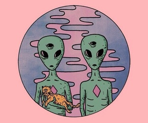 alien, pink, and cat image