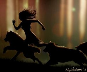 girl, wolf, and wolves & woods image