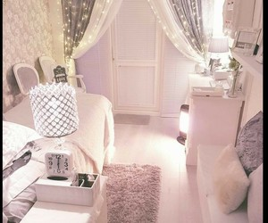 fairy lights, white, and girly bedroom image