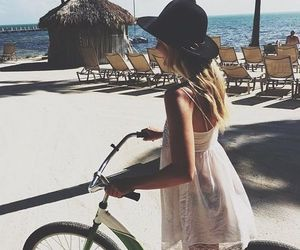 beach, ocean, and bicycle image