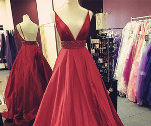 evening dress, red evening dresses, and satin prom dress image