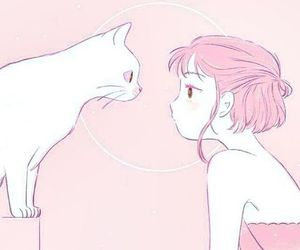 pink, anime, and cat image