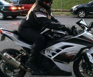 biker girl, black, and motorcycle image