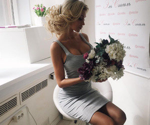 girl, classy, and flowers image