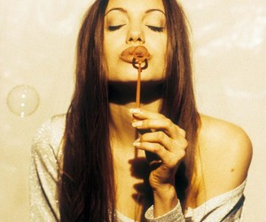 Angelina Jolie, bubbles, and lips image