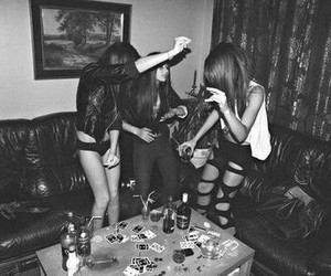 girl, party, and black and white image