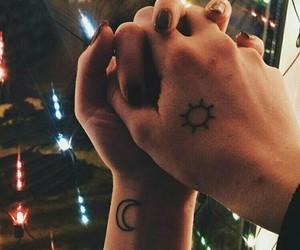 tattoo, couple, and moon image
