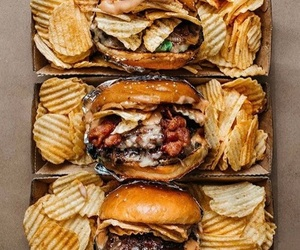 food, burger, and chips image