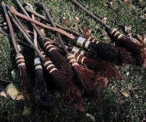 harry potter, broom, and hogwarts image