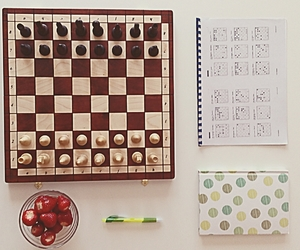chess, quotes, and strawberries image