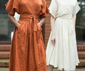 dress, orange, and women image