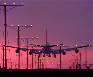 pink, travel, and plane image