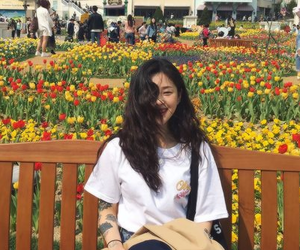 flowers, girl, and icon image