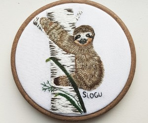 animal, embroidery, and sloth image