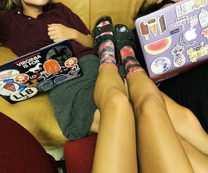 computer, tie dye, and birkenstocks image