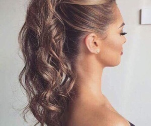 ponytail, curls, and girl image