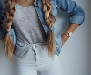 blonde, braided hair, and casual image