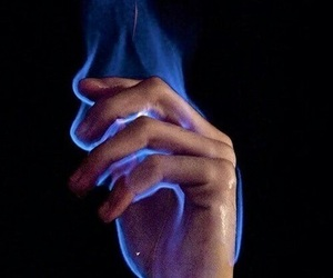 fire, hand, and blue image