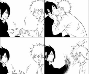 slap, sasunaru, and kiss image