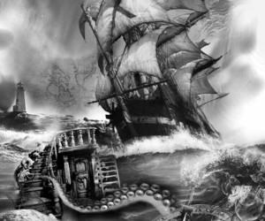 octopus, pirates, and tresure image