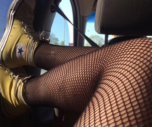 converse, fishnet, and grunge image