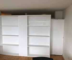 room dividers, nyc living, and bookcase walls image