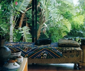 bed, bohemian, and tropical image