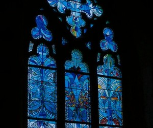 blue, stained glass window, and church window image
