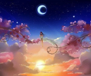 moon, sky, and anime image