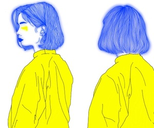 yellow, art, and blue image