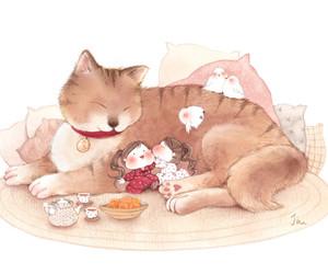 animal, cat, and girls image