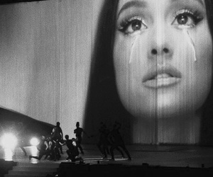 black and white, sad, and ariana grande image
