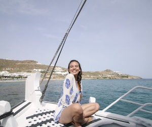 boat, girl, and vacation image