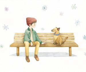 animal, illustration, and bench image
