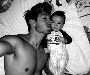 baby, black and white, and man image