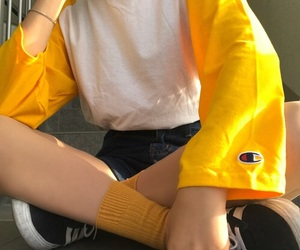 yellow, fashion, and outfit image