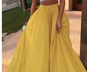 yellow, outfit, and skirt image