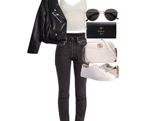 casual, leatherjacket, and Polyvore image