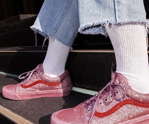 vans, glitter, and pink image