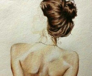 back, drawing, and brown hair image