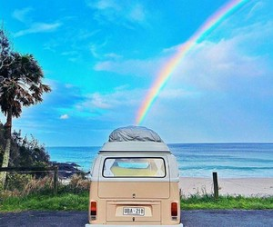 rainbow and beach image